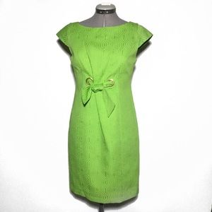 Taylor Apple Green Textured Sheath Dress 4
